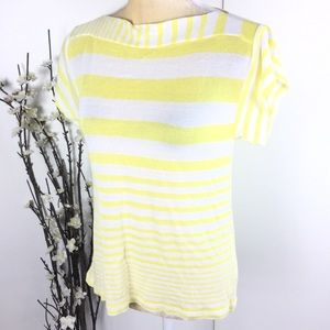White Yellow Striped Knit Short Sleeve Sheer Top
